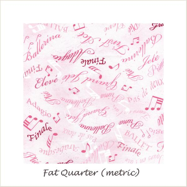 Tiny Dancer  Ballet Words Pink Fat Quarter