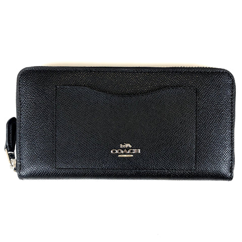 Coach Accordian Zip Wallet Black/Silver