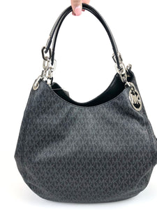 Michael Kors Fulton Large Shoulder Tote Monogram Black