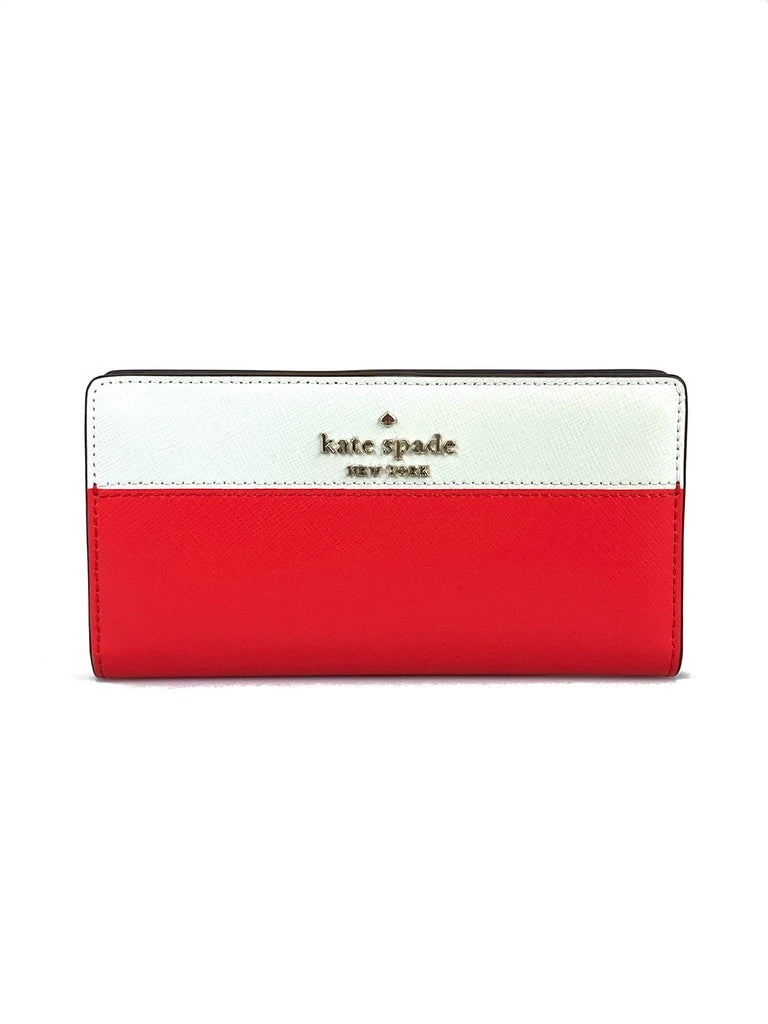Kate Spade Staci Bi Color Leather Slim Wallet - Digital Red/White