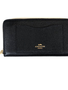 Coach Accordian Zip Wallet Black/Gold