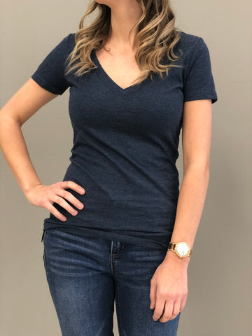 Jane basic V-Neck Tee Mid Navy