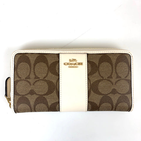 Coach Accordian Zip Wallet Chalk Monogram
