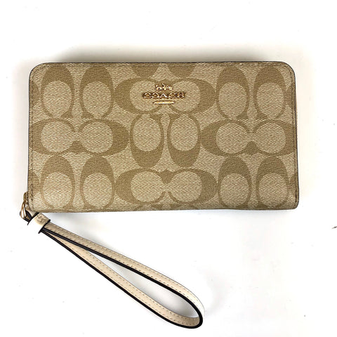 Coach Large Phone Wallet Chalk