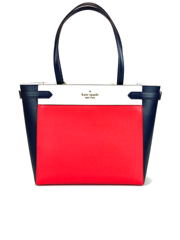 Kate Spade Staci Tri Color Saffiano Leather - Digital Red/Navy