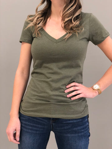 Jane basic V-Neck Tee Milt. Green