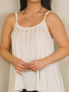 Marina Embroidered Tank with Lace up Back-Ivory