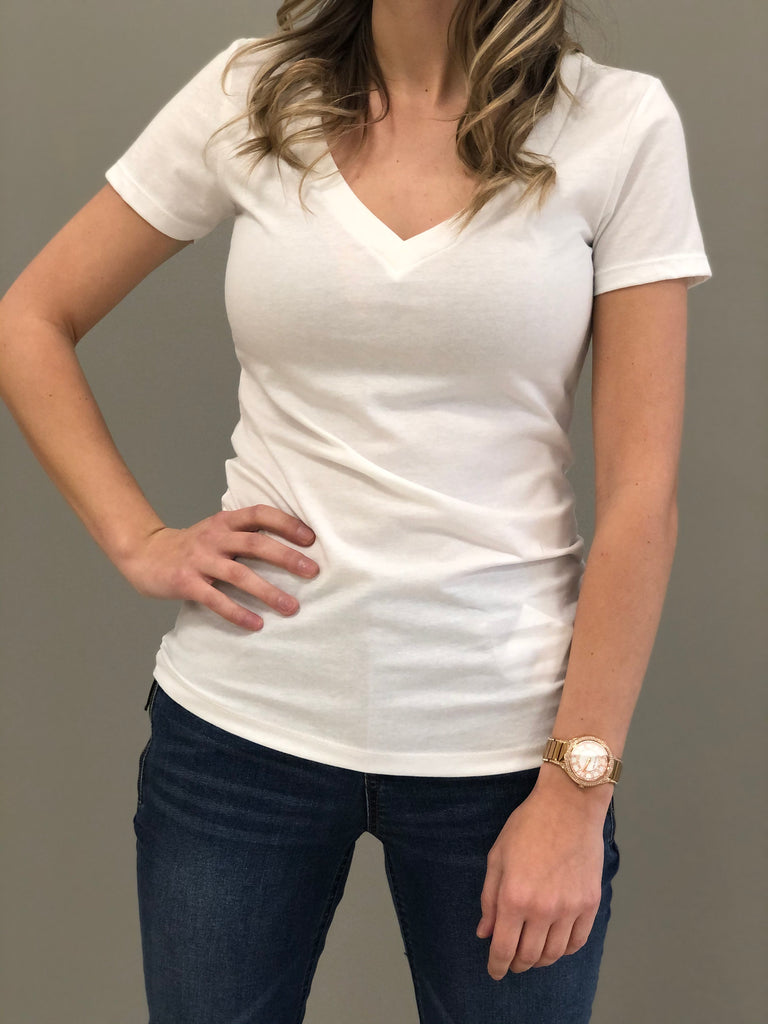 Jane Basic V-Nek Tee White