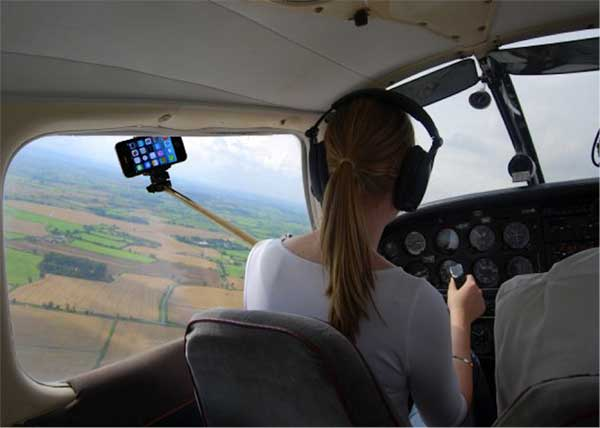 girl taking a selfie as pilot