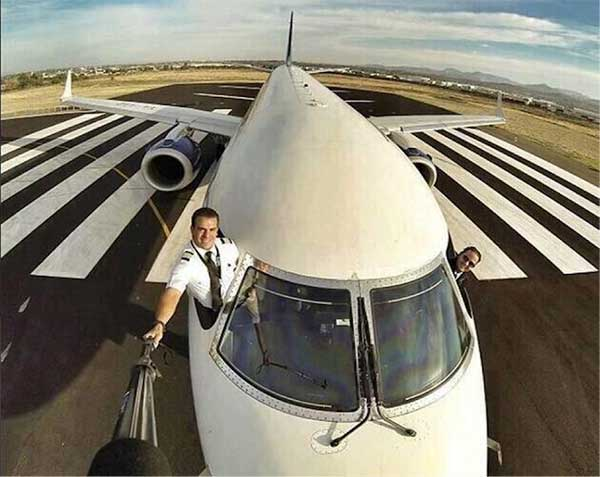 Pilot taking a picture with a selfie stick