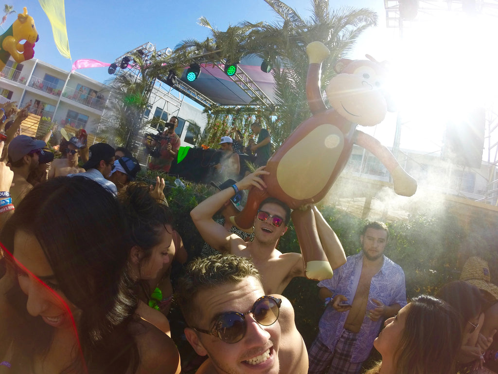 Dancing With A Giant Inflatable Monkey at Splash House 2016 Music Festival In Palm Springs