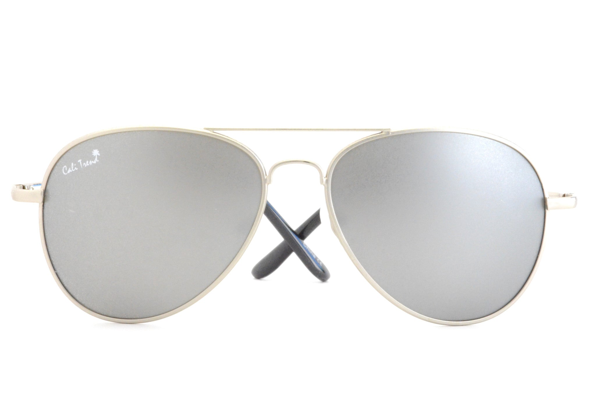 Polarized Silver Mirrored Aviator Sunglasses Metal Frame | Cali Trend