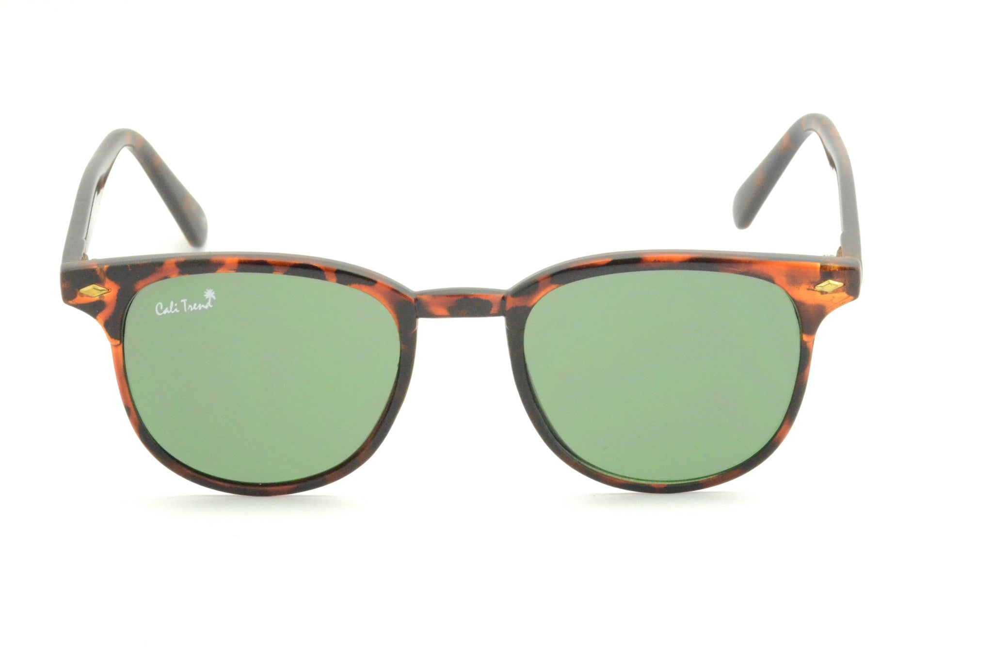 4424a000db Tortoise Shell Round Sunglasses Dark Green Lens Small Frame Cali Trend