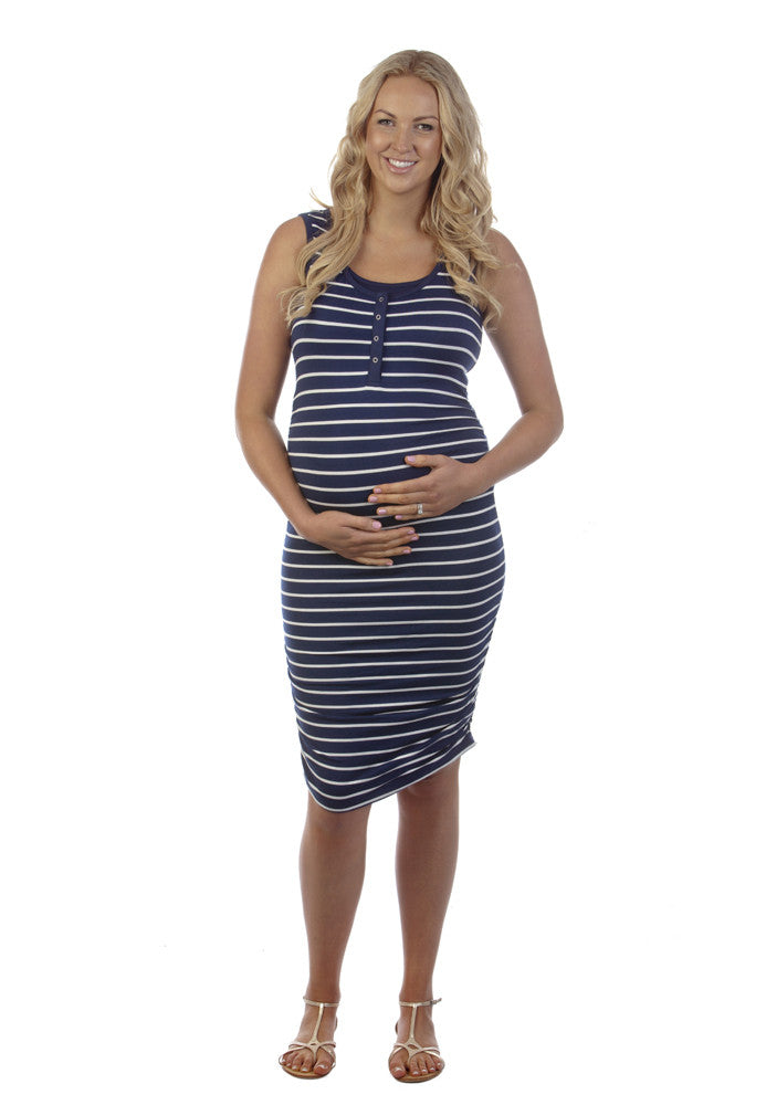 ... Ninth Moon Stud Front Fitted Maternity Tube Dress Navy White - Style  758 - Tops ...