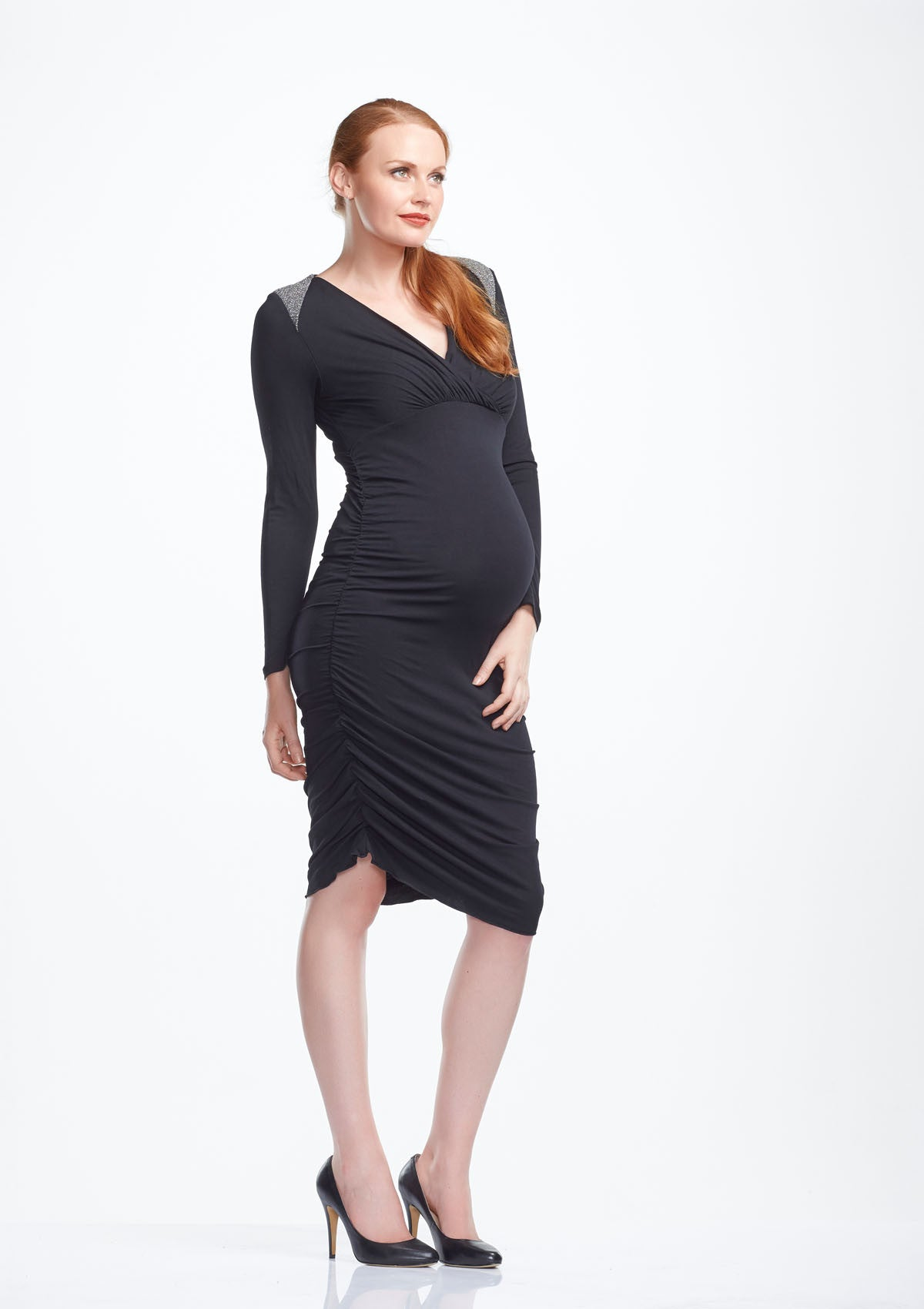 a64e0ce9b6c60 ... Soon Krystal Long Sleeve Maternity Dress from front - Tops & Dresses -  twohatch.com ...