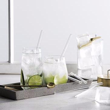 Glass Drinking Straws Pack of 6 - Short