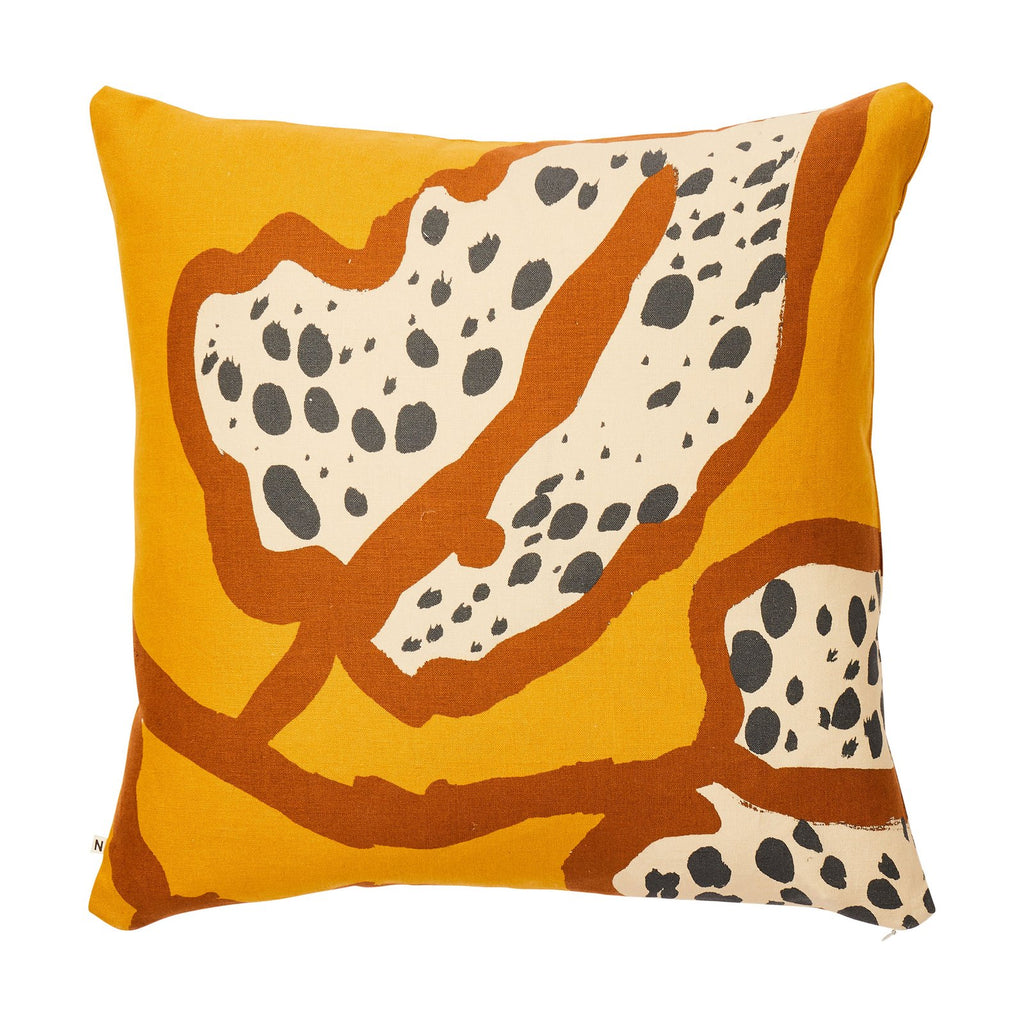 Spotted Begonia Mustard Cushion