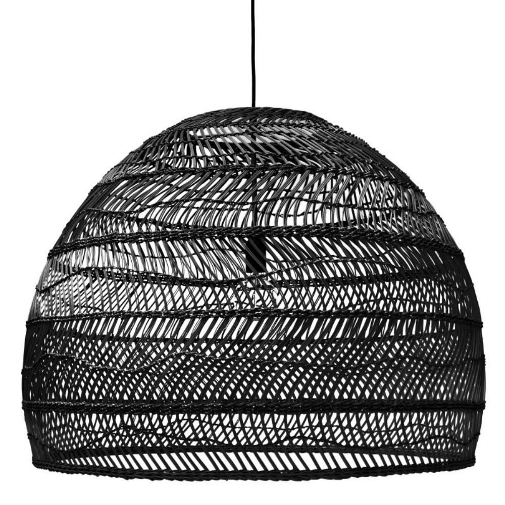 Wicker Hanging Lamp - Black - Large