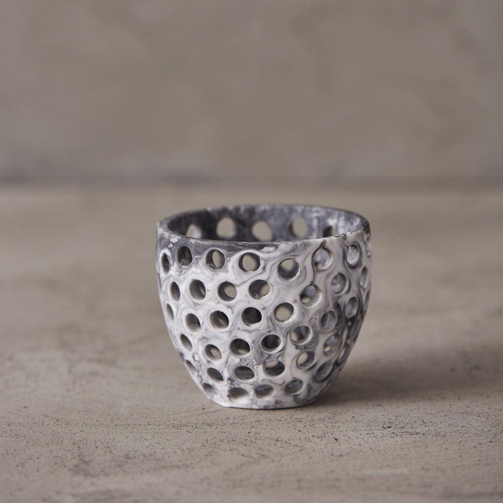Tea light Candle Holder - Grey Marble