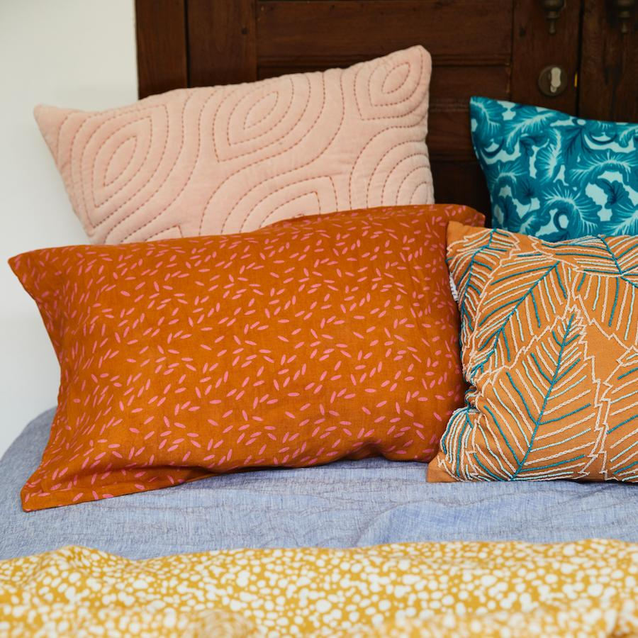 Kubu Linen Pillowcase Set - Ochre