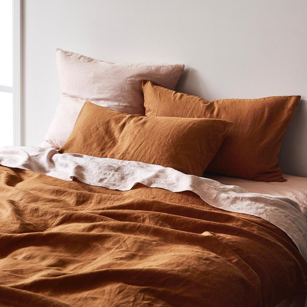 Linen Quilt Cover - Tobacco