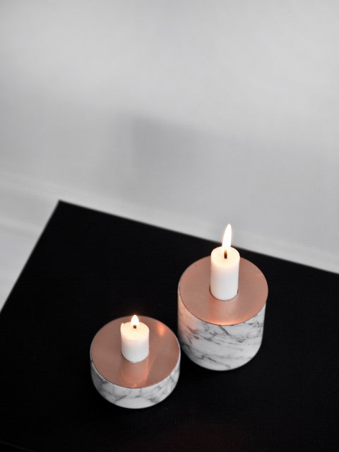 Chunk Marble Candle - small