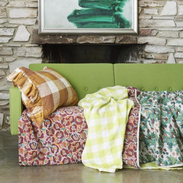 Biscuit Check Ruffle Pillowcase Set