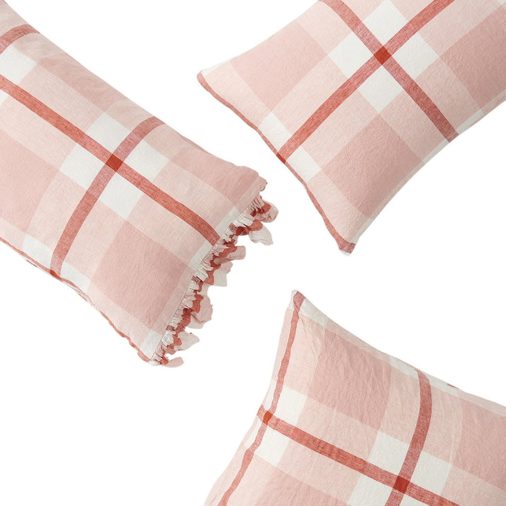 Floss Check Ruffle Pillowcase Set
