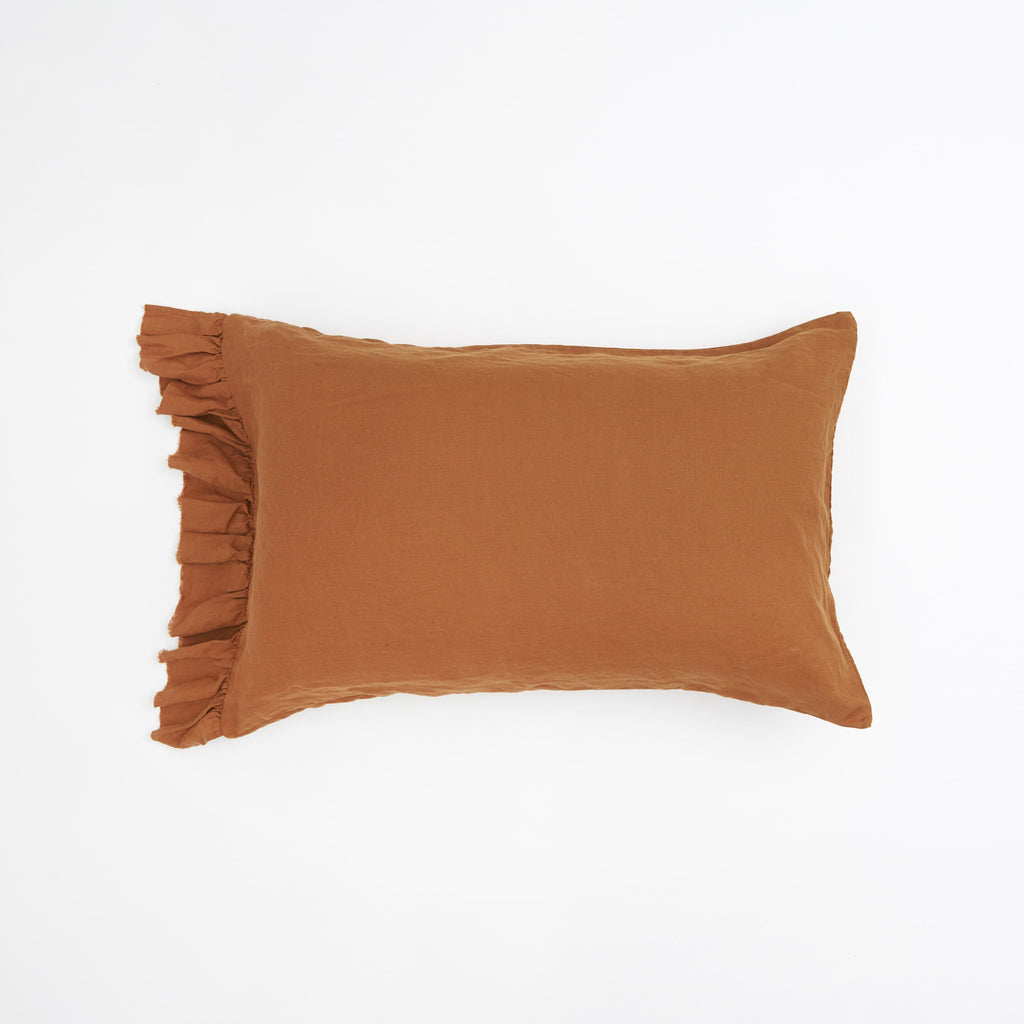 Tobacco Ruffle Pillowcase Set