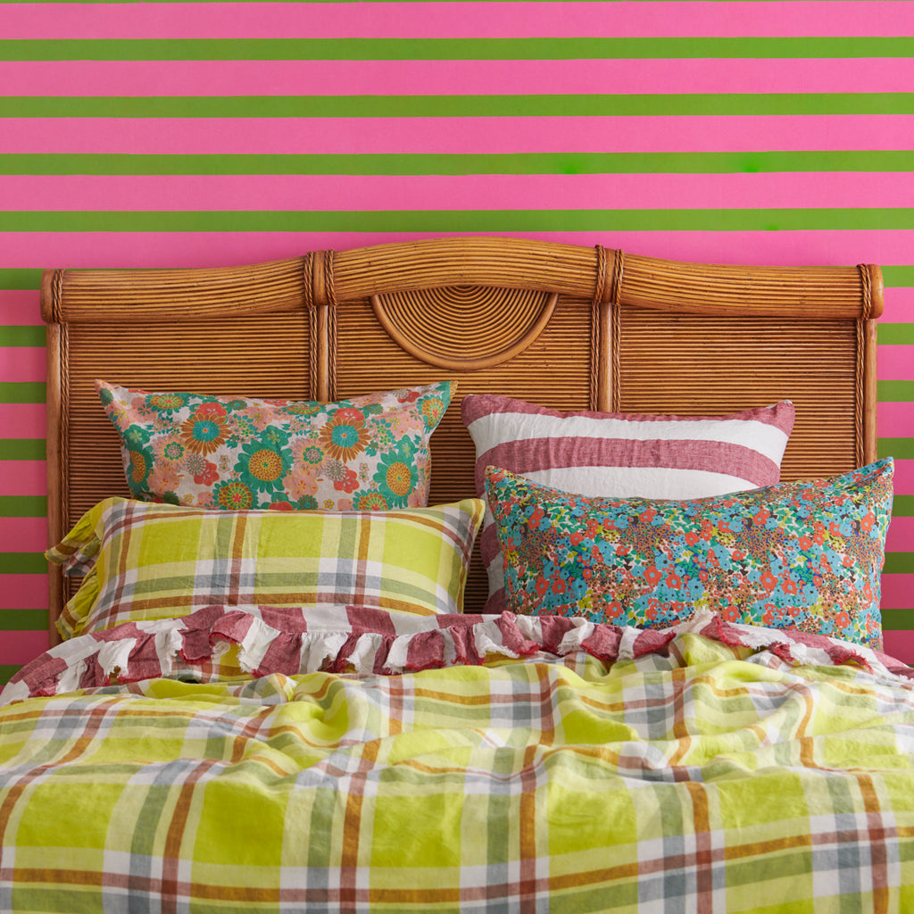 Citron Check Flat Sheets