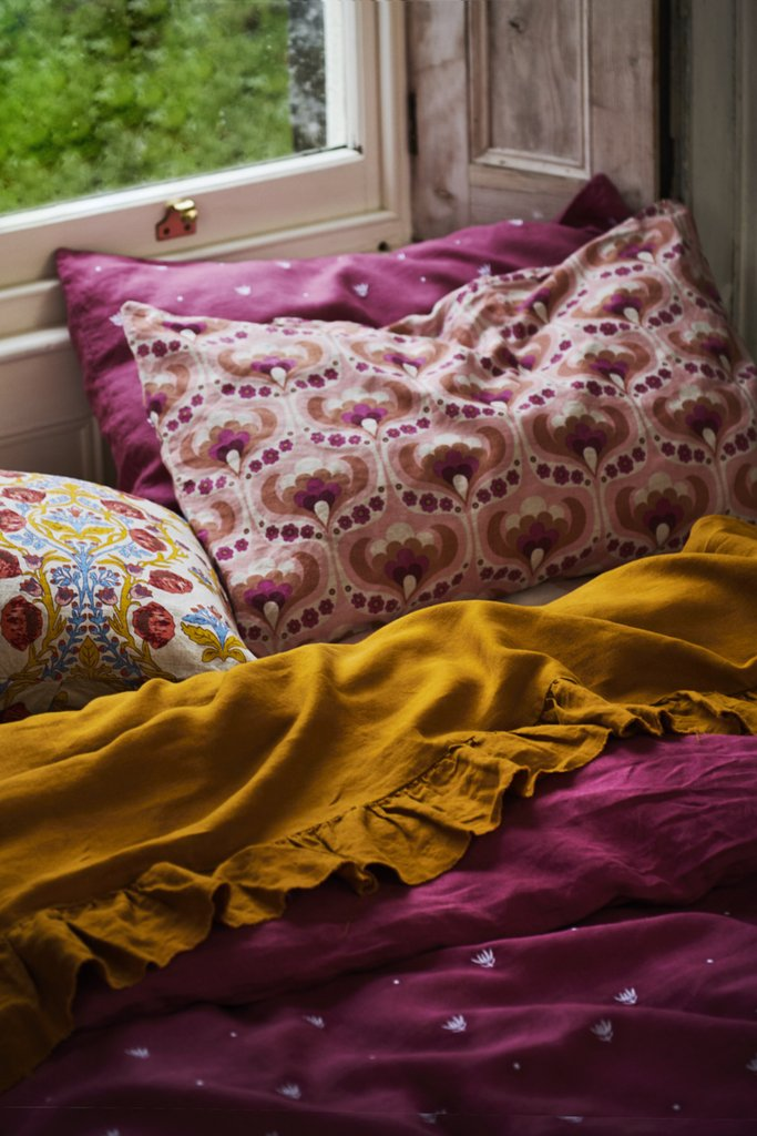 Embroidered Fuchsia Pillowcase Sets
