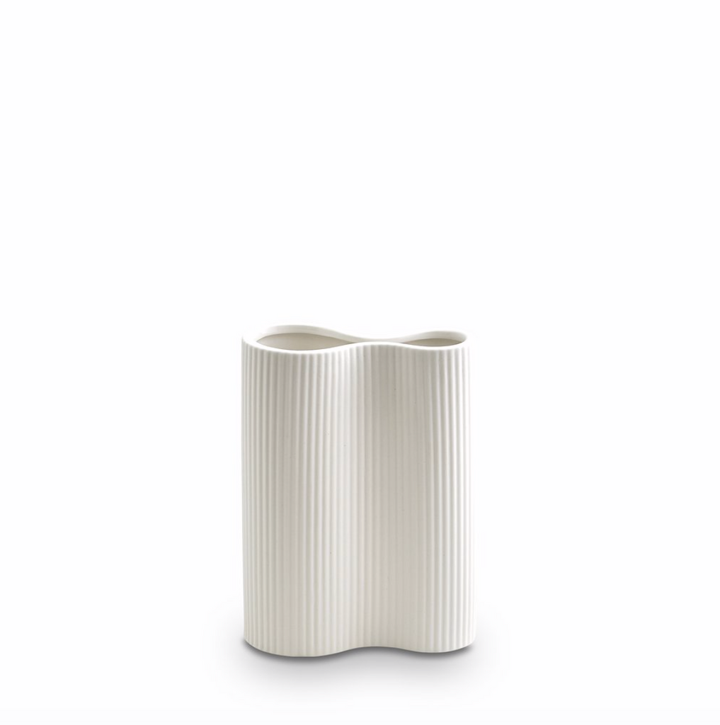 Ribbed Infinity Vase Snow -  SMALL