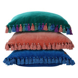 Jade Green Velvet Tassel Cushion