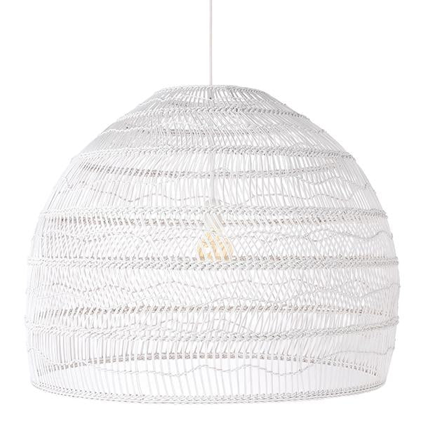Wicker Hanging Lamp - White - Large