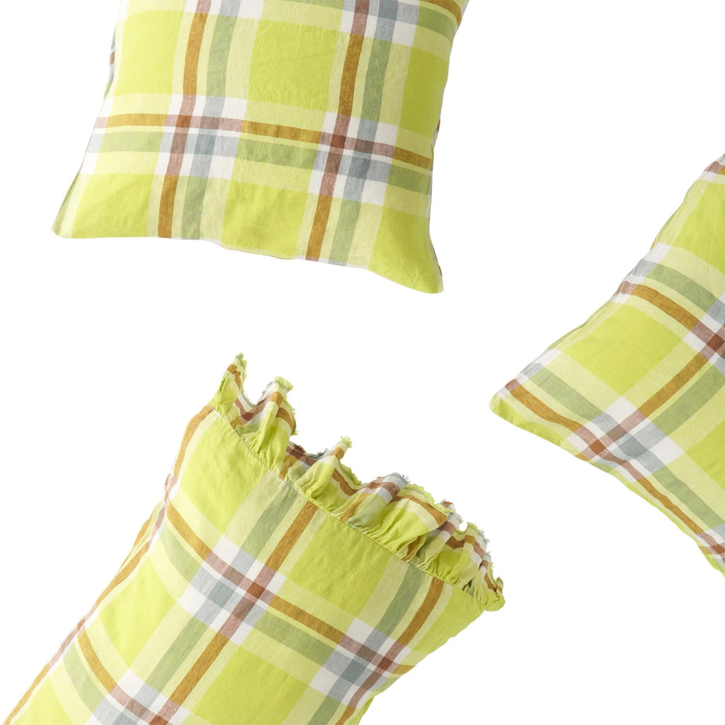 Citron Check Ruffle Pillowcase Set