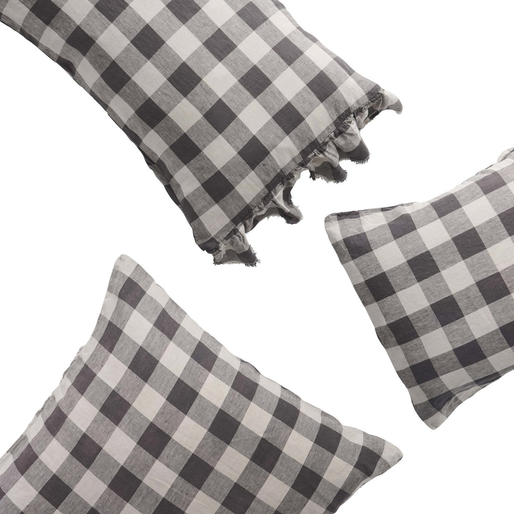 Licorice Gingham Ruffle Pillowcase