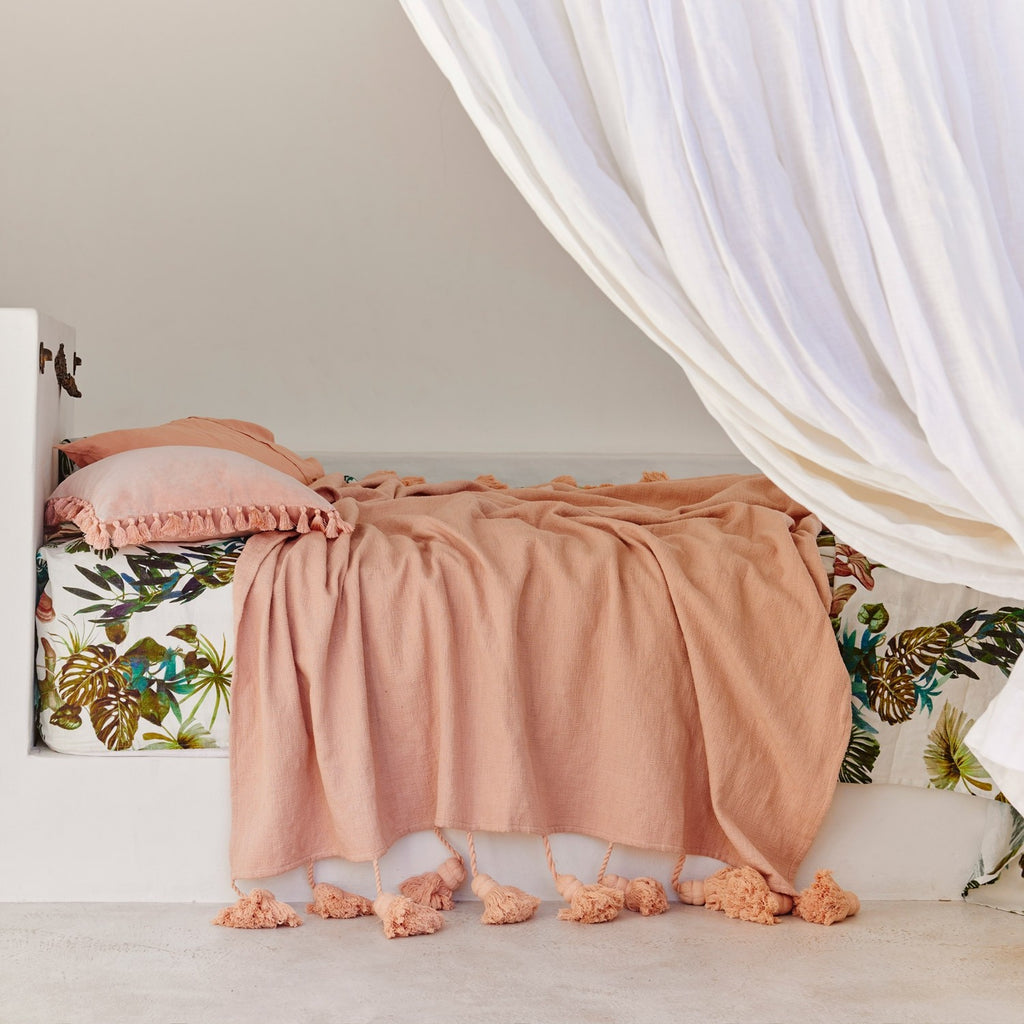 Peach Parfait Tassel Throw
