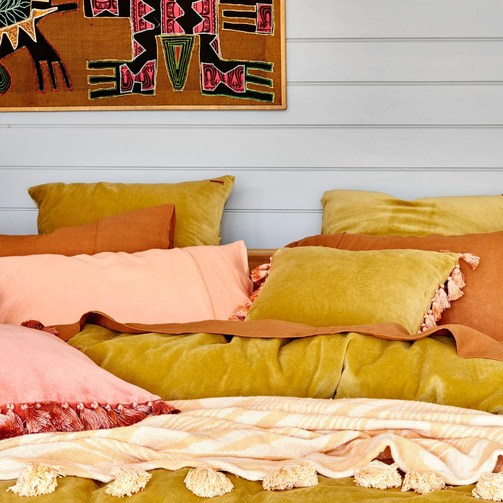 Burnished Gold Velvet Pillowcase Set