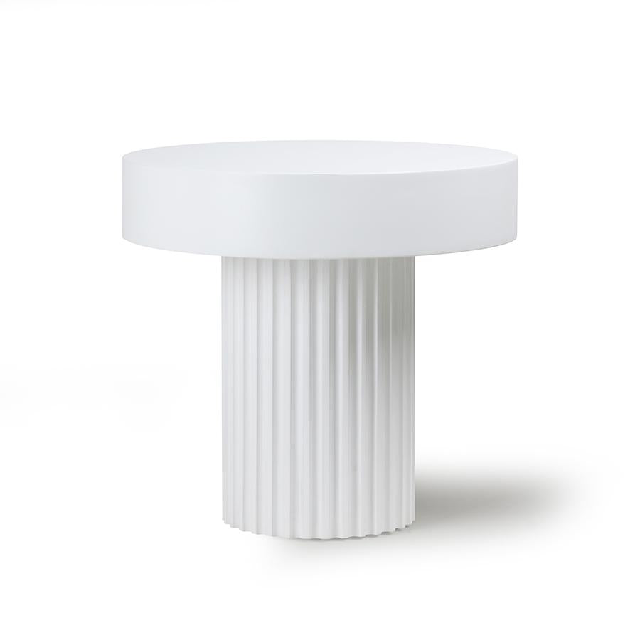 Pillar Round White Coffee Table / Side Table