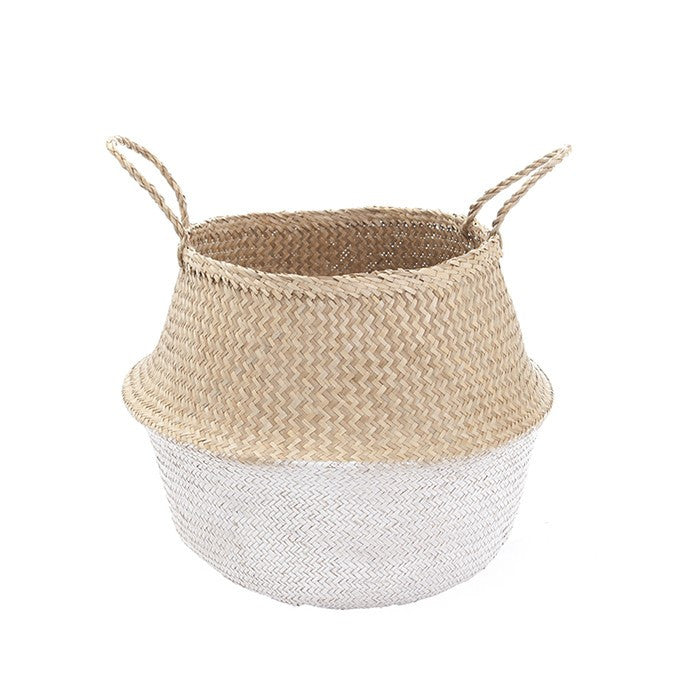 White Dip Natural Belly Basket