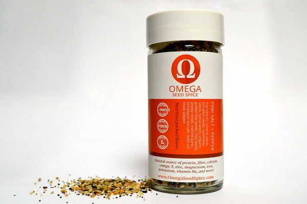 Seed-based Pink Salt and Pepper Seasoning. Superfood Spice, Naturally High in Protein, Fiber, Vitamins & Omegas. All Natural, Healthy & Delicious. - Omega Seed Spice