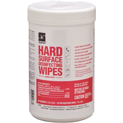 SOD SPA1085-06 SPARTAN CHEMICAL COMPANY 125 Count Lemon Scent Hard Surface Disinfecting Wipes