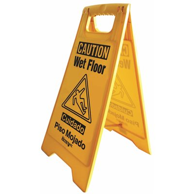 REN05114 Renown 25 in. Caution Wet Floor Sign, English and Spanish in Yellow (6-Pieces Per Case)
