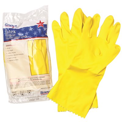 REN05240 Renown Medium Yellow Flock-Lined Latex Gloves Dozen