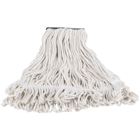 REN02430 LARGE White Blend Loop-End Shrinkless Wet String Mop Head with 1 in. Head Band