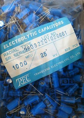 Lot of 500 Pcs 25V 1000uF MFD Radial Electrolytic Capacitor REC Brand New 85 C