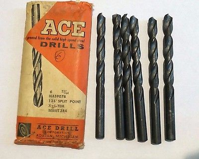 Lot of 6 ACE Drill HSS NAS 907B 135˚ Split Point X-L-TEM Series 384 New 23/64