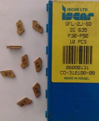 ISCAR GFL 2J 6D IC 635 P30-50 Carbide Inserts 8 Pcs Lathe Grooving Cut-Off Gold
