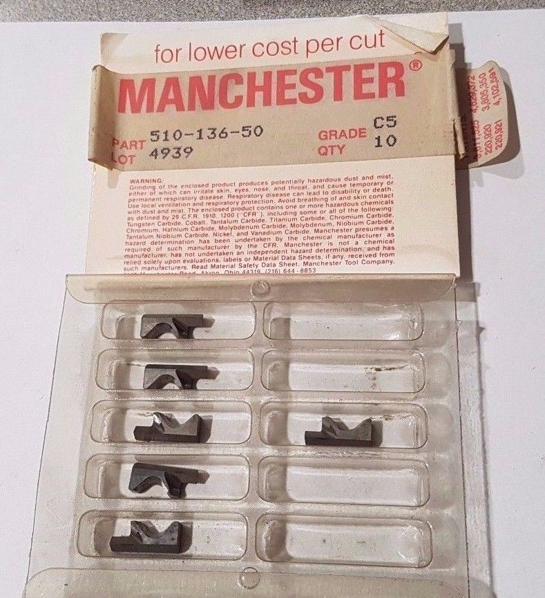MANCHESTER 510 136 50 C5 Lathe Carbide Inserts 6 Pcs New Tools 4949