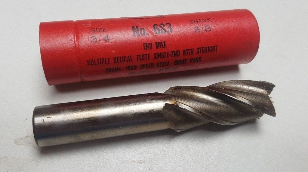Cleveland Twist Drill NO. 683 HSS Single End Mill 3/4 5/8 Shank 4 Flutes New USA